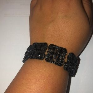 Black bracelet on elastic band